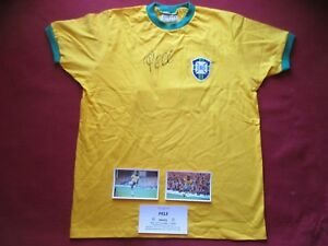 b5e373ad9 BRAZIL PELE AUTHENTIC HAND SIGNED RETRO 1970 WORLD CUP SHIRT JERSEY ...