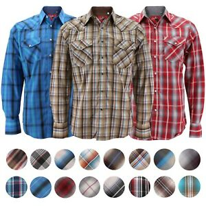 Rodeo-Clothing-Men-039-s-Premium-Western-Cowboy-Pearl-Snap-Long-Sleeve-Plaid-Shirt