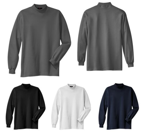 LONG SLEEVE MEN/'S SUPER SOFT MOCK TURTLENECK XS-6XL MID-WEIGHT 100/% COTTON