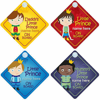 Personalised Mummys Prince On Board Car Sign Baby//Child Safety 6 Choices