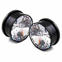 Black Ear Gauges With Clear Crystal Cz Screw Fit Ear Plugs Surgical Steel 6g-00g