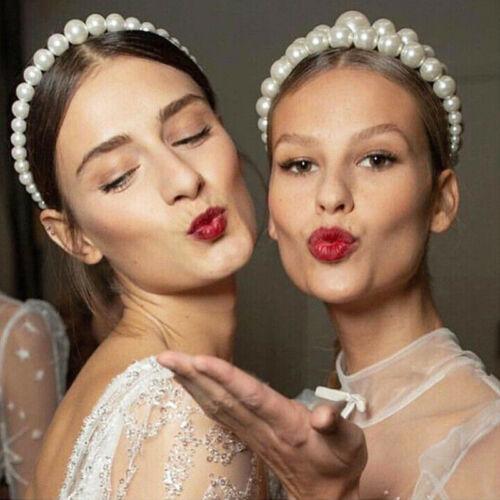 Women Bride Bridesmaid Pearls Beaded Headband Hairband Wedding Hair Hoop Gift UK