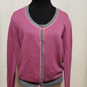 1a782e62b26 Cabi Womens Sz S Cardigan Sweater Pink Gray Geometric Long Sleeve ...