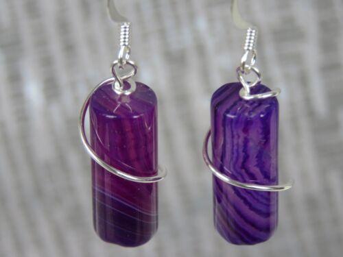 Silver Plated Purple Stripe Agate Hook Earrings