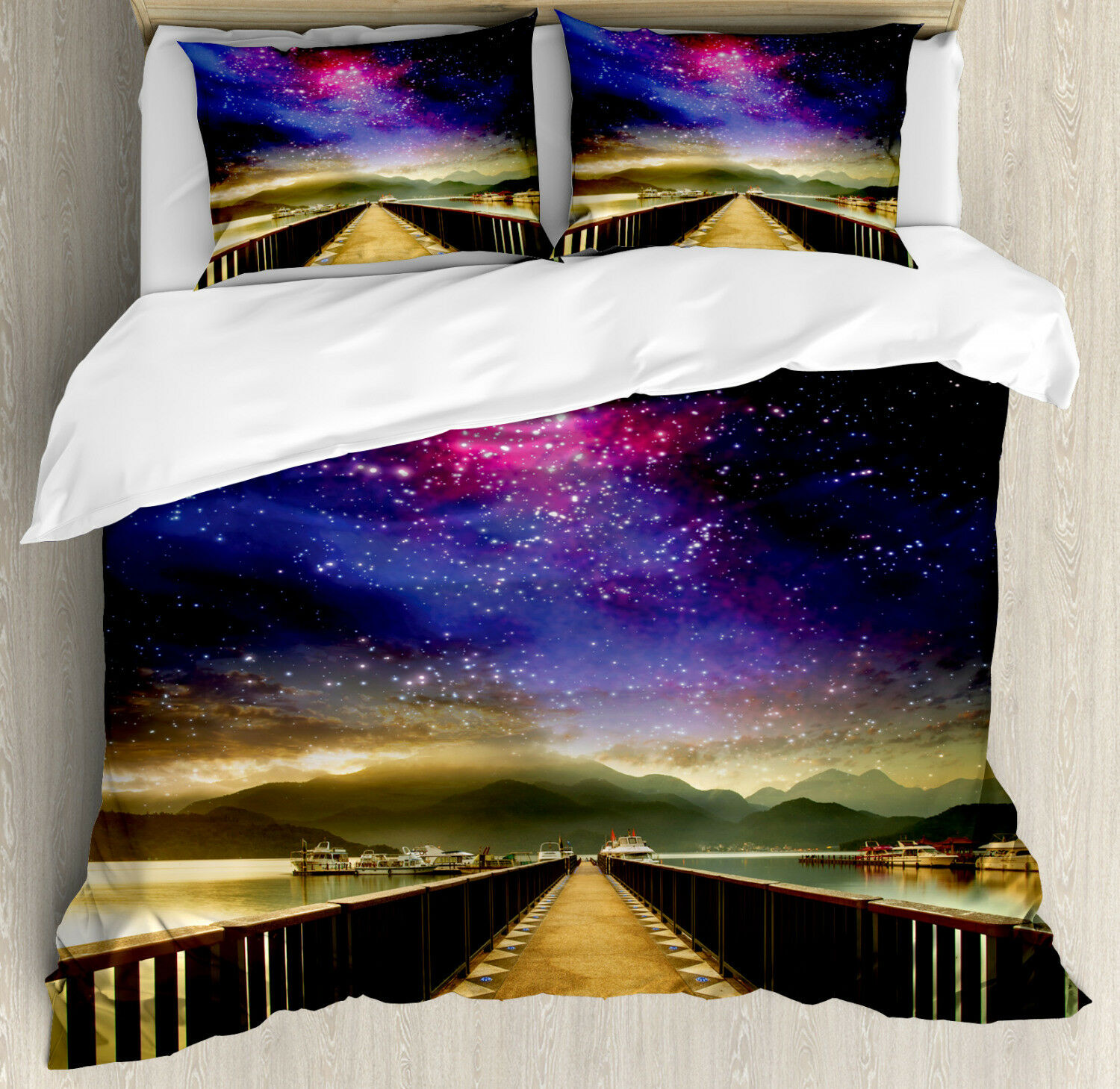 Universe Duvet Cover Set with Pillow Shams Galaxy Cosmos Bridge Print