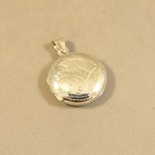.925 Sterling Silver Rounded Etched ROUND Picture LOCKET Pendant NEW 925 LK41