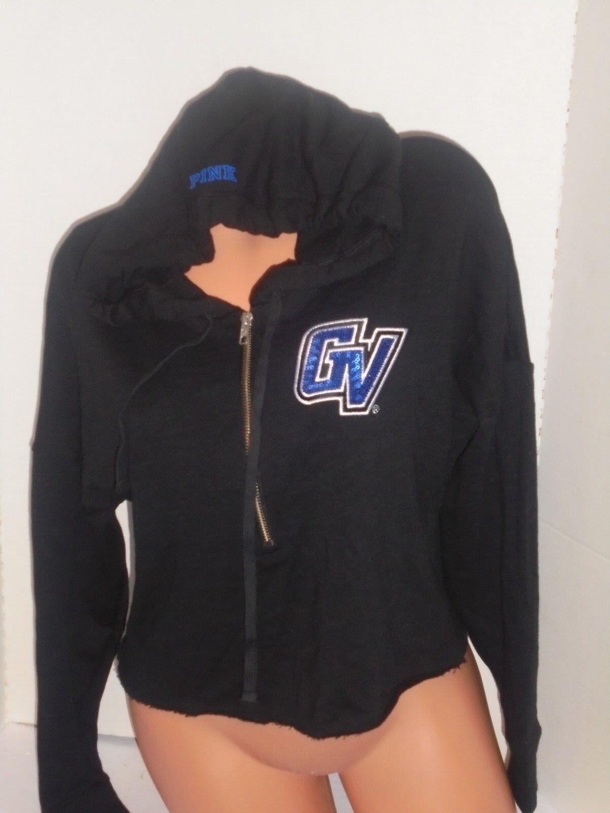 69 Victoria's Secret PINK cropped hoodieGrand Valley Lakers GW bling sequin XS