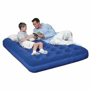 Sale Blue Bestway Double Flocked Air Bed Blow Up Camping Mattress