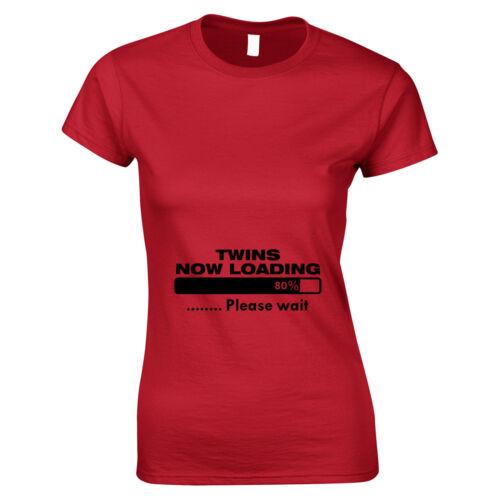 TWINS caricando Divertente Maternità Gravidanza WOMANS t shirt Baby Shower Regalo