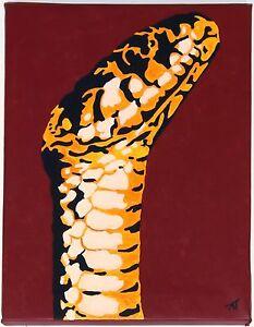 Gemaelde-Schlange-handgemalt-Leinwand-Acryl-Malerei-modern-Snake-Natter-Kobra