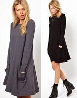 Damen Tunika mit Taschen Longshirt  TOP Kleid Minikleid Bluse S M L XL XXL 34-50