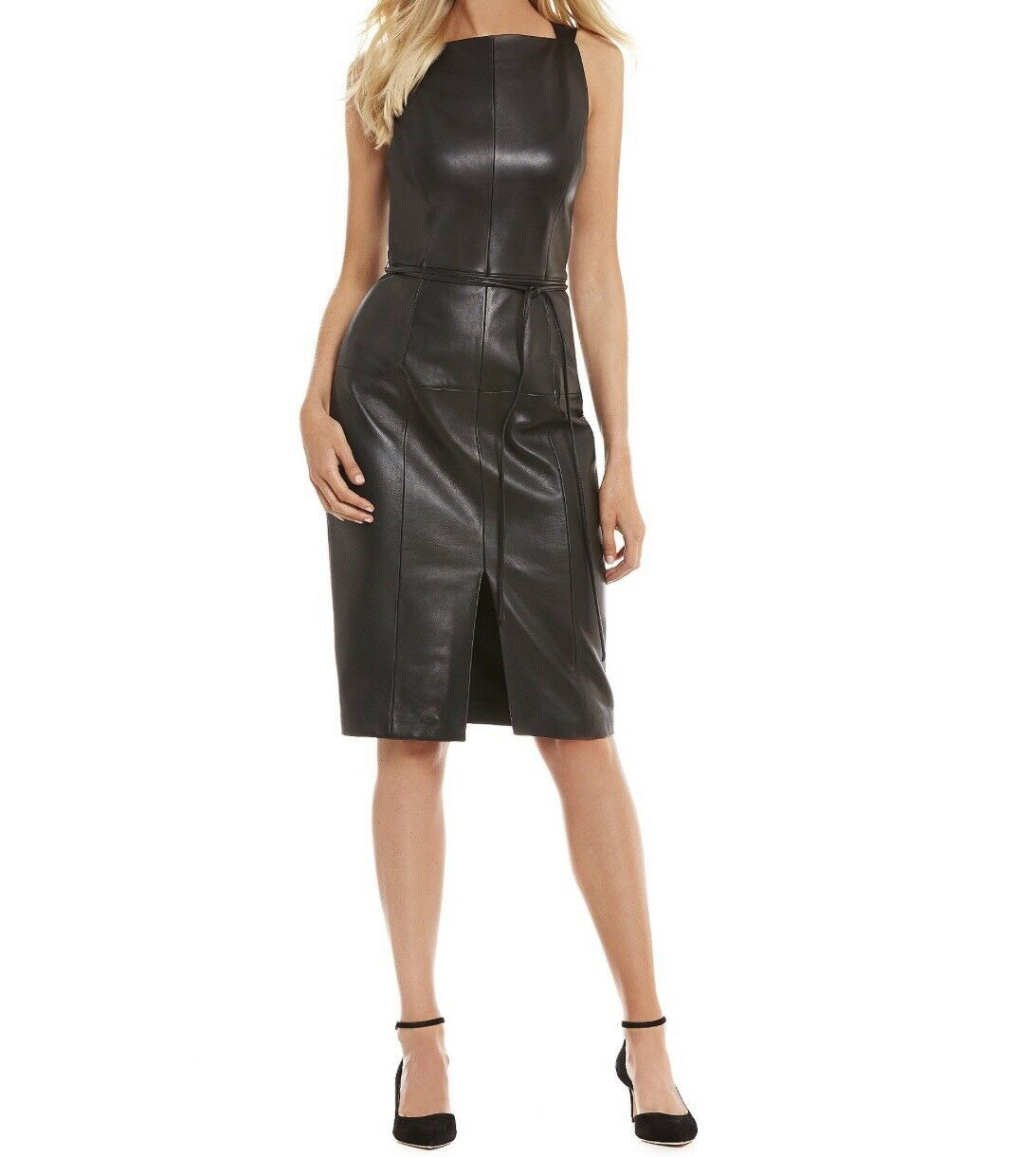Antonio Melani Luxury Luxury Luxury Collection Koko Front Slit Genuine Leather Dress Size 6 619c3f