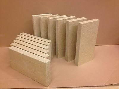 "8 x Vermiculite stove fire bricks Compatible with Villager Stoves 4.5"" x 9"" x 1"""