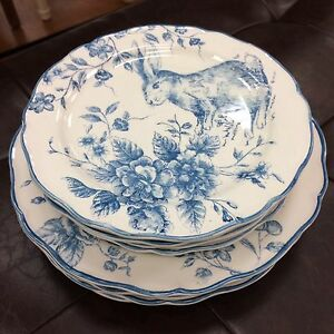 ... 3-Maxcera-Blue-White-Toile-Rabbit-Bunny-Easter- & 3) Maxcera Blue White Toile Rabbit Bunny Easter Dinner Plates ~ NEW ...