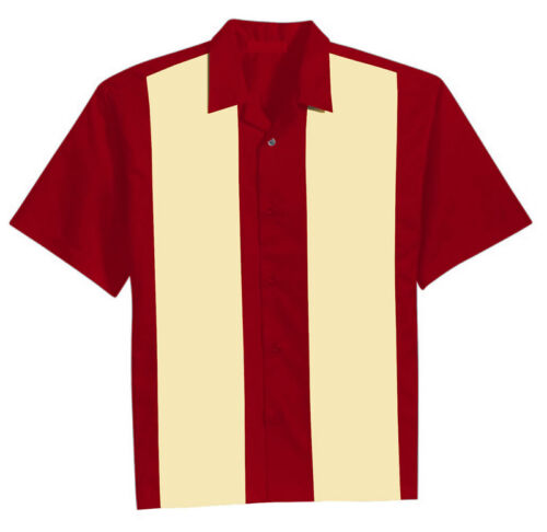 Mens Rockabilly Hot Rod Vintage Bowling Shirts Charlie Sheen 50s Style Party