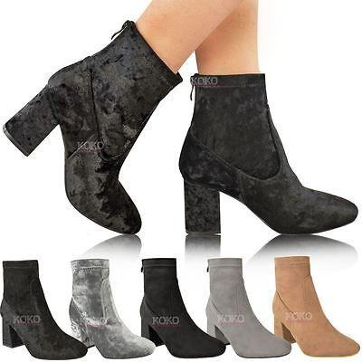 Ladies Velvet suedette wedge heel ankle boots with gold zip