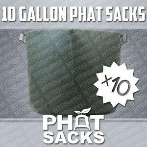"""(10) 10 GALLON FABRIC GROW POTS AIR PRUNE SMART DIRT REUSABLE 12"""" x 15.5"""" BAGS"""