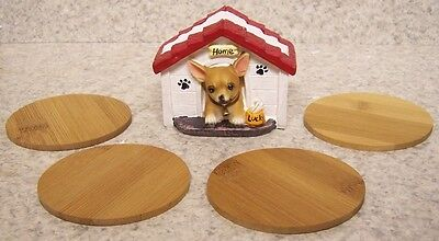 Drink Coaster Set of 4 Chihuahua and Dog House Holder NEW