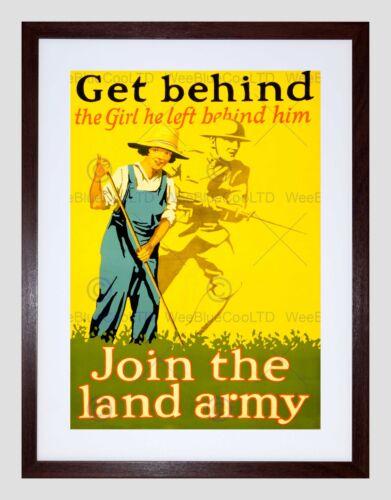 WAR WWI ALLIES LAND ARMY GIRL SOLDIER BAYONET HOE FARM FRAMED PRINT B12X7697