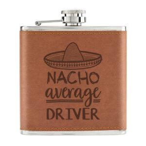 Nacho-Moyenne-Driver-170ml-Cuir-PU-Hip-Flasque-Fauve-Best-Coureur-Drole-Awesome
