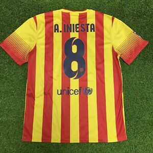 Sinis personalizado Decorativo  2013 2014 Fc Barcelona A Iniesta Jersey Shirt Kit Away Yellow Nike L Large  8 | eBay