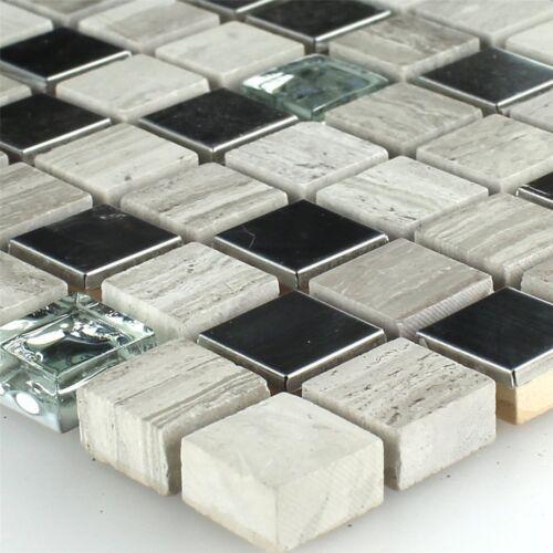 Sandstein Edelstahl Glas Mosaik Fliesen Grau 15x15x8mm