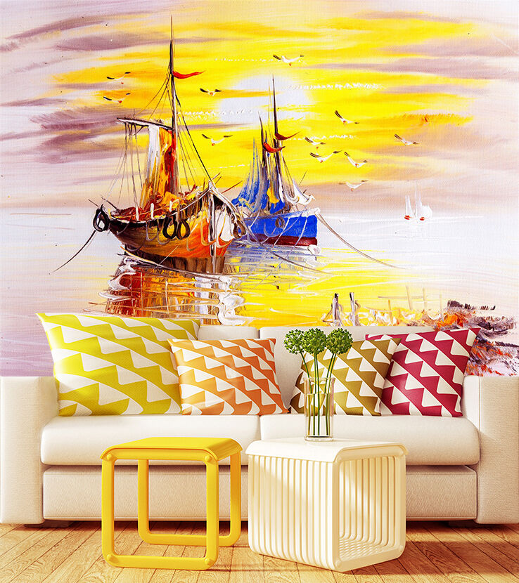 3D paint painting ship dusk Wall Paper Print Decal Wall Deco Indoor wall Mural