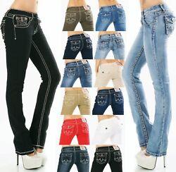 Damen Jeans Hose gerade Straight BootCut Flap Pocket dicke Nähte Stretch S-XXL