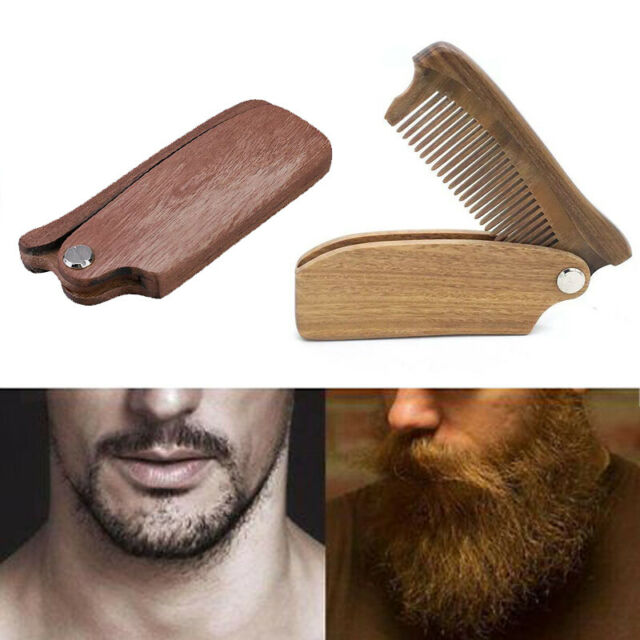 WomenPortable Folding Wood Comb Moustache Beard Hairbrush Multifunctional Tool