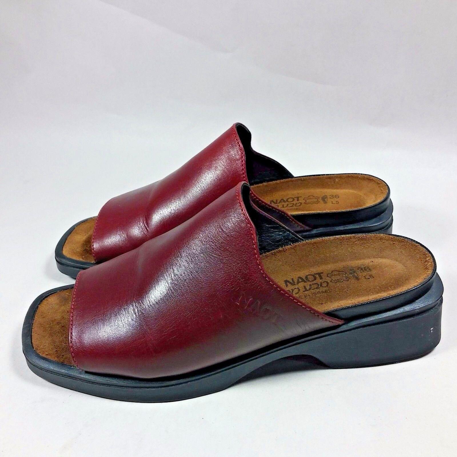 NICE Women's Naot Slides Slip-on Comfort Peep Toe shoes Sandal-Maroon-US 5