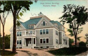 1910-FOXBORO-MASS-HIGH-SCHOOL-BLDG-POSTCARD-KK2