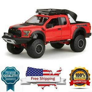 diecast model Ford 2017 F-150 Raptor Pickup Truck Red Off Road Kings 1/24 scale