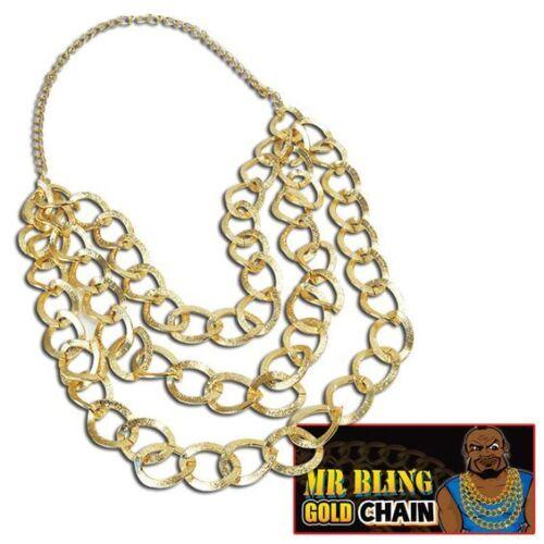 GOLDEN MR BLING CHAIN BA #BARACUS FANCY DRESS COSTUME PIMP ACCESSORY