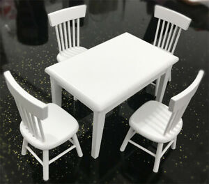 1-12-Dollhouse-Miniature-Furniture-Wooden-White-Dining-Table-Chair-Model-Set