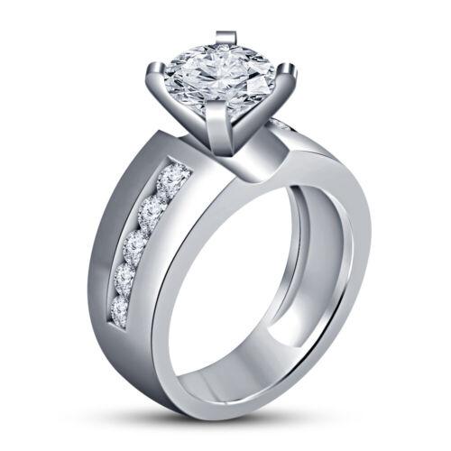 Womens Fancy Engagement Wedding Ring 1.20 Ct Round Diamond 14K White Gold Finish