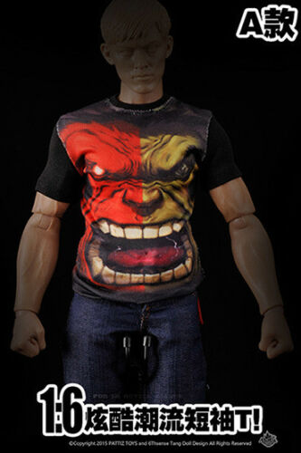 1//6 1:6 T-shirt Iron Man Hulk Man Captain America wow Soldier Figure