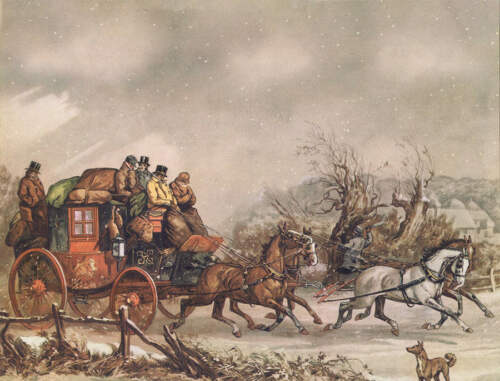 Christmas Horses Coach in Winter