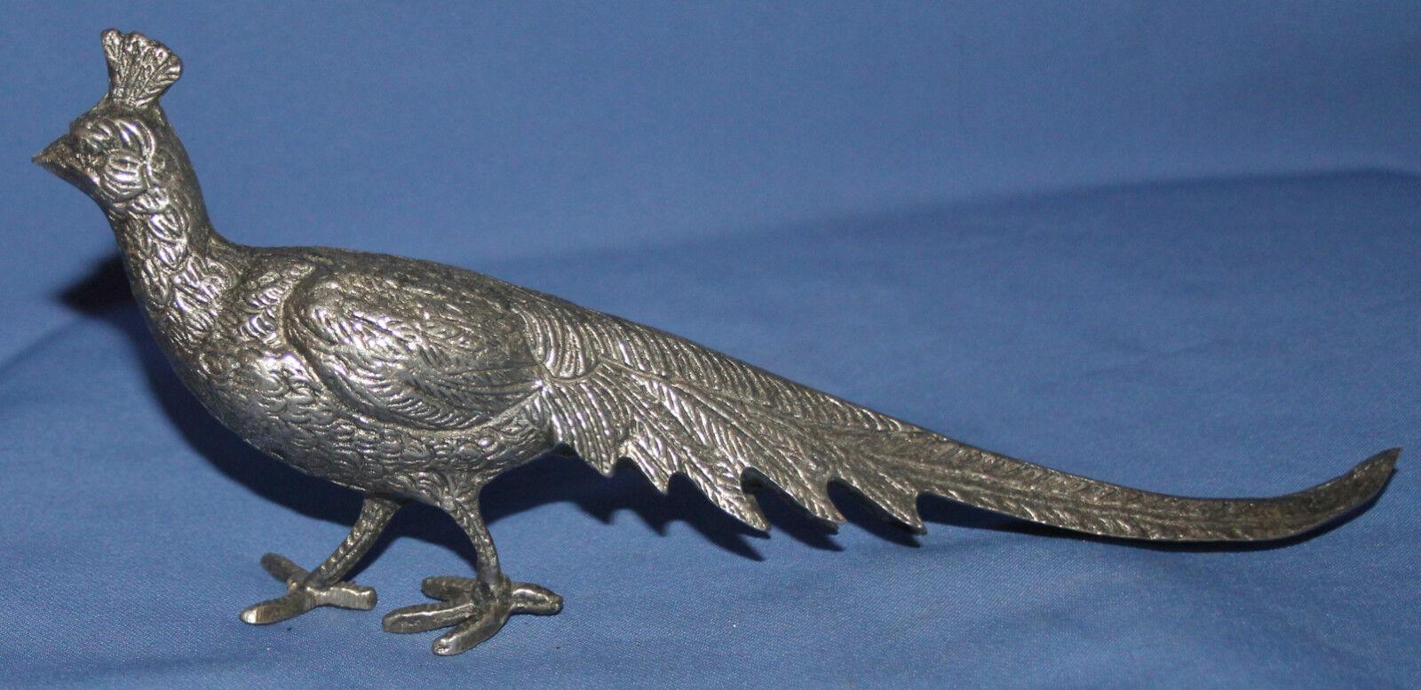 Vintage mano hecha de metal Faisán Pájaro estatuilla