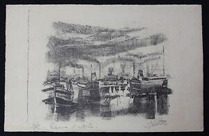 AgréAble Joseph Delattre (1858-1912)bateaux Au Port T. Rare Epreuve D'artiste Ecole Rouen Complet Dans Les SpéCifications