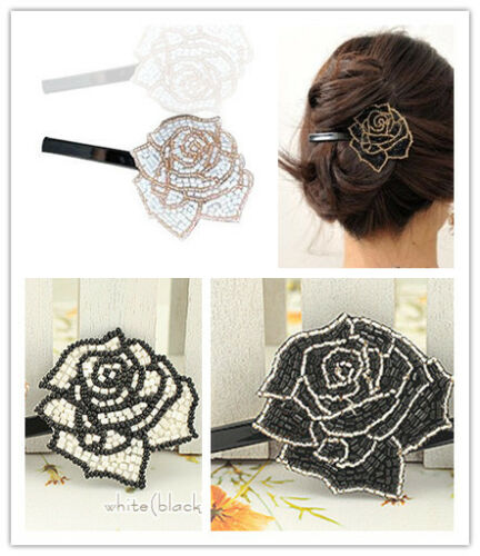 seed pearl rose hairclip hair clip multiple colours