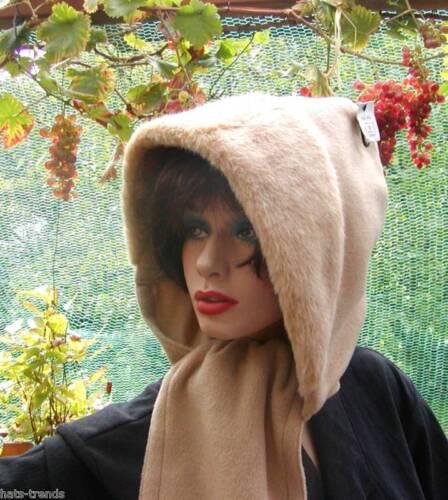 Damenmütze Schalmütze Kapuzenschal in Beige mit  Webpelz Damenmützen Schalmützen