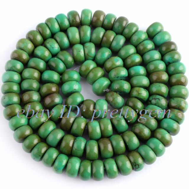 """3x6mm Natural Smooth Rondelle Green Old Turquoise Gemstone Beads Strand 15"""""""