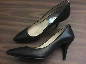 Michael-Kors-Dorothy-Women-s-Black-Leather-Pumps-Size-9-High-Heels