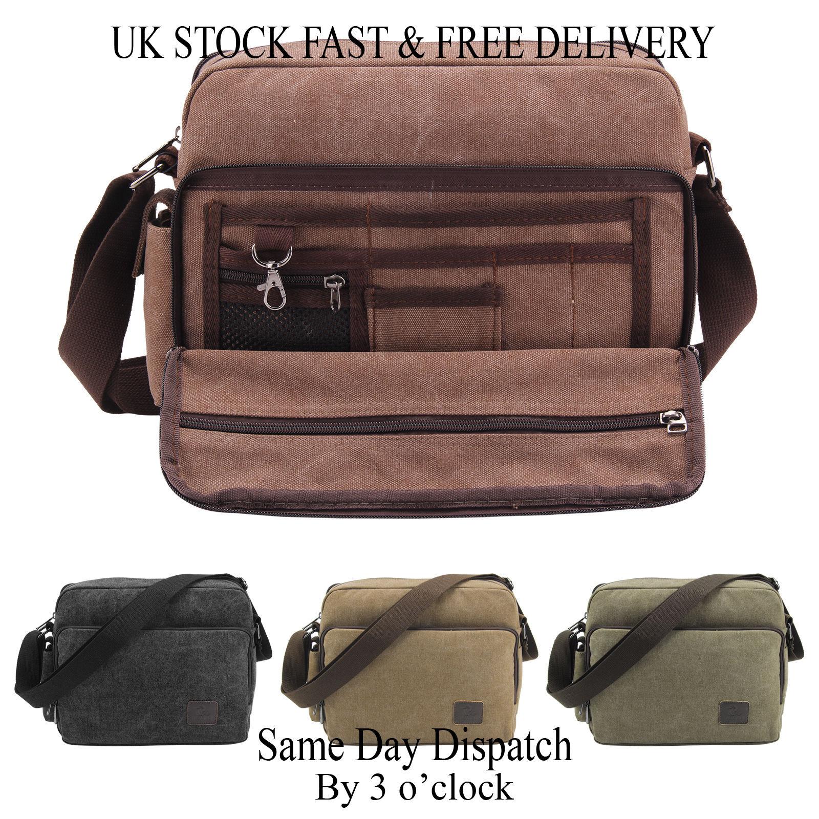 7bbe07e4a7 Vincenza Men's Retro Canvas Bag Travel Crossbody Satchel Outdoor Over  Shoulder