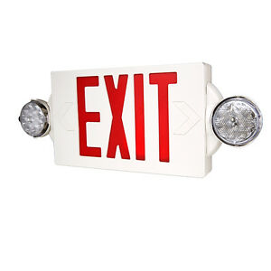 LTS LTEL004R Red Combo Emergency EXIT Universal Mount LED Thermoplastic Unit