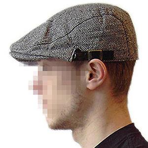 Flache-Schirmmuetze-Schieber-Grau-Kappe-Klassiker-Hat-flat-cap-kariert