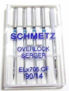 SCHMETZ ELNA OVERLOCK SERGER CHROME ELX705CF SIZE 90//14 SEWING MACHINE NEEDLES