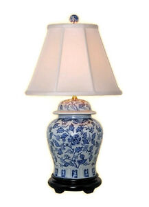 Beautiful Blue And White Porcelain Ginger Jar Table Lamp