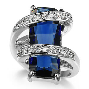 jewelry fashion 925 silver sapphire wedding rings for women size 6 12