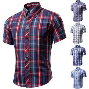 Herren-Plaid-Freizeithemd-Klassische-Hemden-Shirts-Kurzarm-Bluse-Oberteile-FL